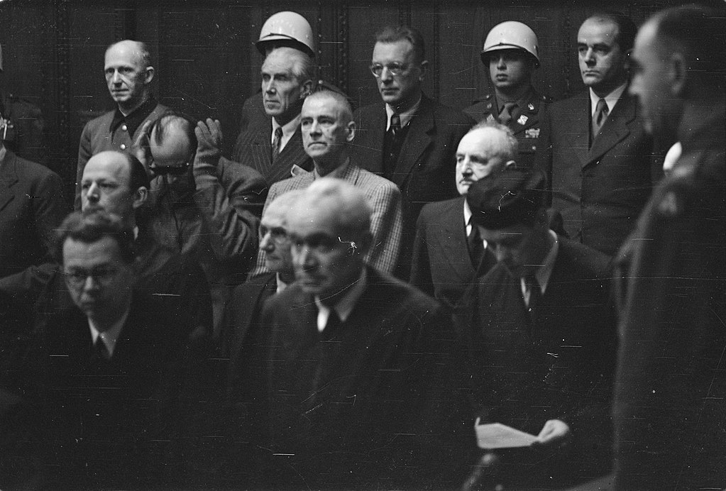 Nuremberg process. In the back row Jodl, Von Papen and Seyss-Inquart, in the front row Franck, Frick and Streicher