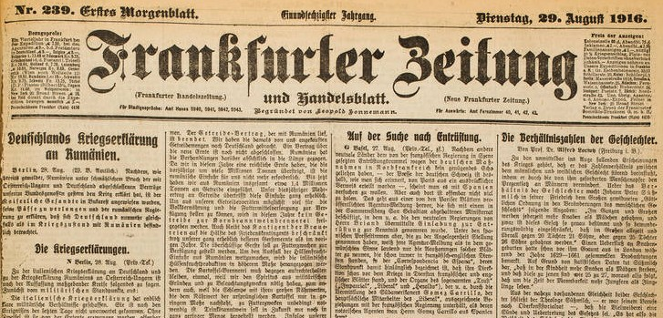 a copy of Frankfurter Zeitung before Hitler's regime,1916